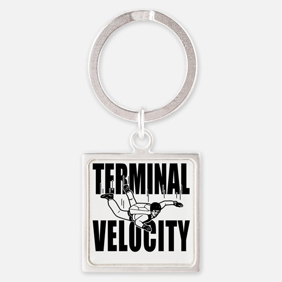 terminalvelocity_black Square Keychain