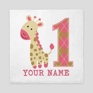 Pink Giraffe First Birthday - Personalized Queen D