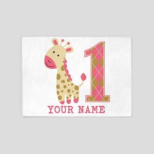 Pink Giraffe First Birthday - Personalized 5'x7'Ar