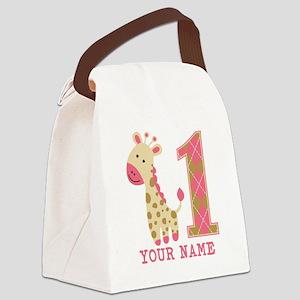 Pink Giraffe First Birthday - Personalized Canvas