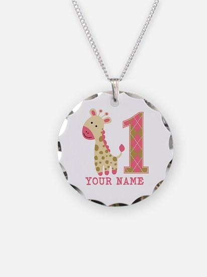 Pink Giraffe First Birthday - Personalized Necklac