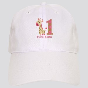 Pink Giraffe First Birthday - Personalized Cap