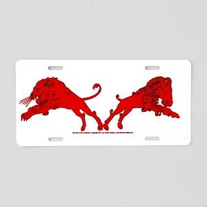 LionLamb_Red Aluminum License Plate