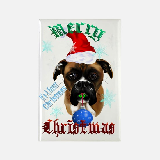 Merry Christmas-Santa Boxer Trans Rectangle Magnet