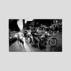 Bike Rally 0076BW Poster 3'x5' Area Rug