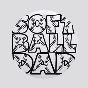 black, Softball Dad Round Ornament