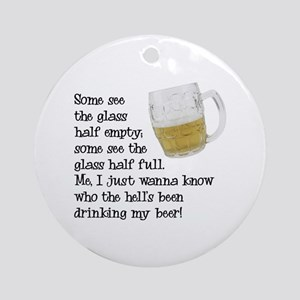 Half Glass Of Beer Ornament (Round)