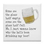 Half Glass Of Beer Tile Coaster