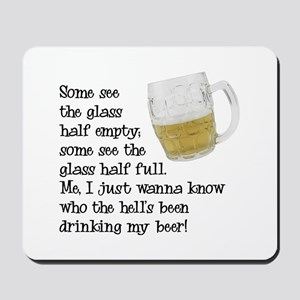 Half Glass Of Beer Mousepad
