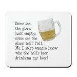 Half Glass Of Beer Mousepad