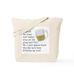 Half Glass Of Beer Tote Bag