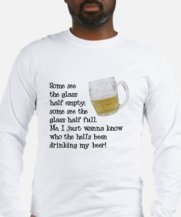 Half Glass Of Beer Long Sleeve T-Shirt