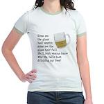 Half Glass Of Beer Jr. Ringer T-Shirt