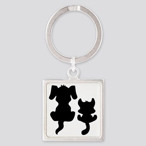 cat and dog17 Square Keychain