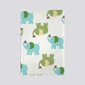 Blue and Green Elephants Rectangle Magnet