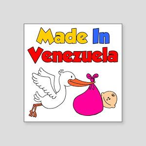 "Made in Venezuela Girl Square Sticker 3"" x 3"""