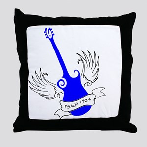 neon blue, guitar 2 Throw Pillow