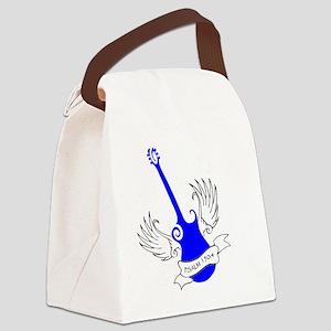 neon blue, guitar 2 Canvas Lunch Bag