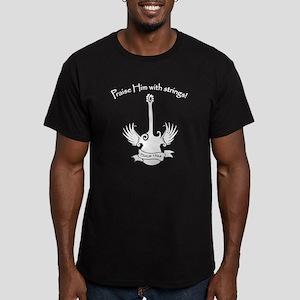 white, guitar Men's Fitted T-Shirt (dark)
