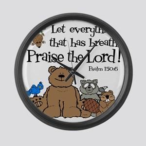 psalm 150 6 critters1 Large Wall Clock