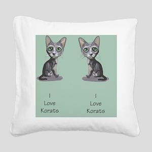Korat_caricature_flipflops Square Canvas Pillow