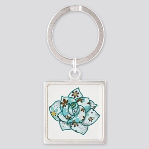 Pattern-Rose Square Keychain
