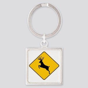 Whitetail caution Square Keychain