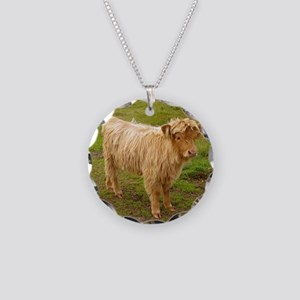 Hieland cow matte Necklace Circle Charm