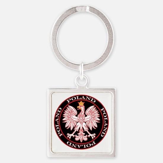 Round Polish Eagle Square Keychain