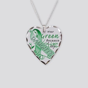 I Wear Green Because I Love M Necklace Heart Charm