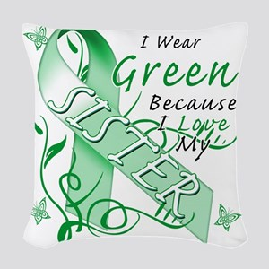 I Wear Green Because I Love My Woven Throw Pillow