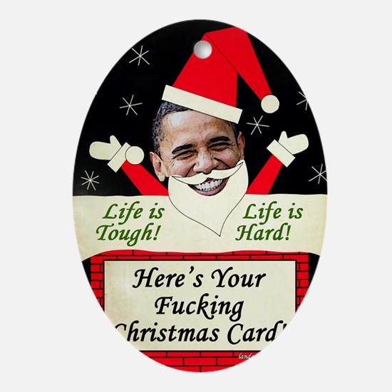 obamafchristmascard2011 Oval Ornament