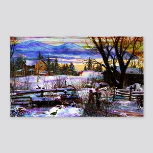 Winter Walk Home Boy Girl and Dog 3'x5' Area Rug