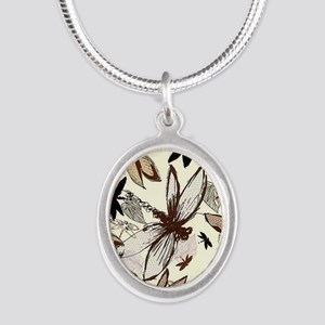 dragonflies Silver Oval Necklace