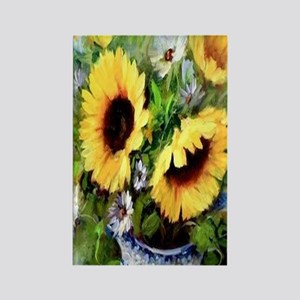 Wind Tossed Sunflowers  Daisies a Rectangle Magnet