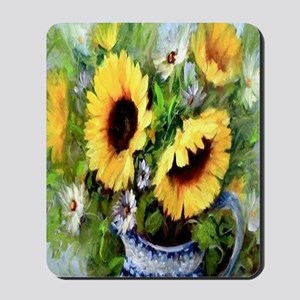 Wind Tossed Sunflowers  Daisies and an I Mousepad