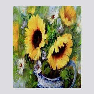 Wind Tossed Sunflowers  Daisies and  Throw Blanket
