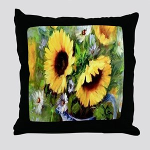 Wind Tossed Sunflowers  Daisies and a Throw Pillow
