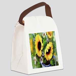 Wind Tossed Sunflowers  Daisies a Canvas Lunch Bag