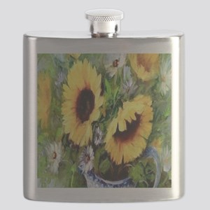 Wind Tossed Sunflowers  Daisies and an Iris  Flask