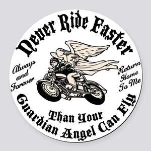 angel-fast-bw-LTT Round Car Magnet