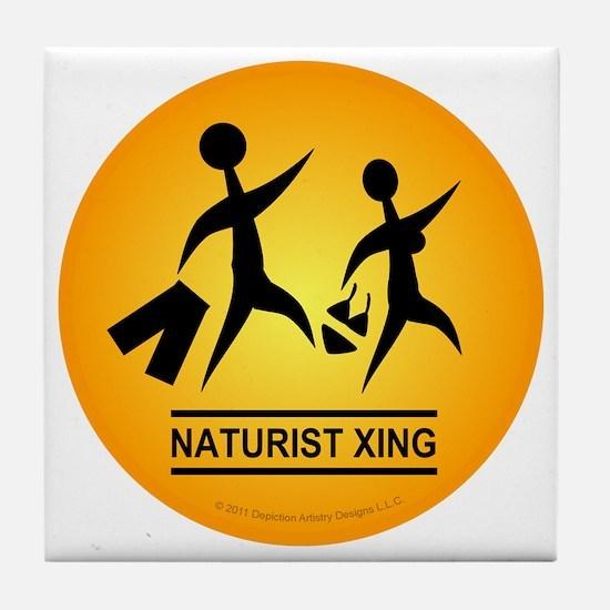 Naturist Xing Button Tile Coaster