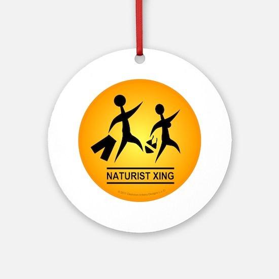 Naturist Xing Button Round Ornament