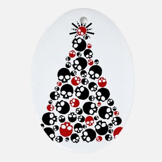 Gothic Skull Holiday Tree Oval Ornament