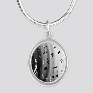 music notes Silver Oval Necklace