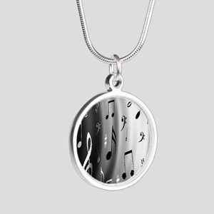 music notes Silver Round Necklace