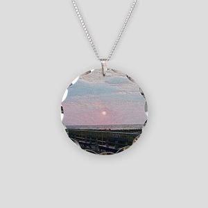 Ocean City NJ Boardwalk Sunr Necklace Circle Charm