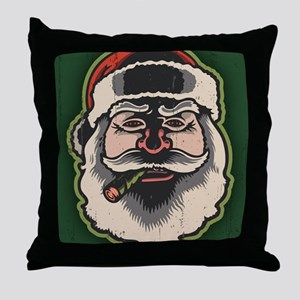 smokin-santa-LG Throw Pillow