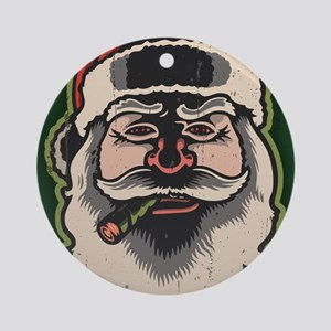 smokin-santa-LG Round Ornament
