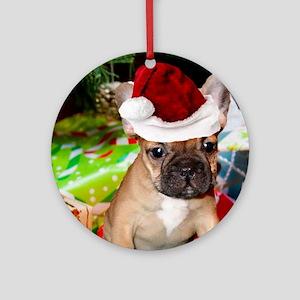 christmas French bulldog 4a Ornament (Round)